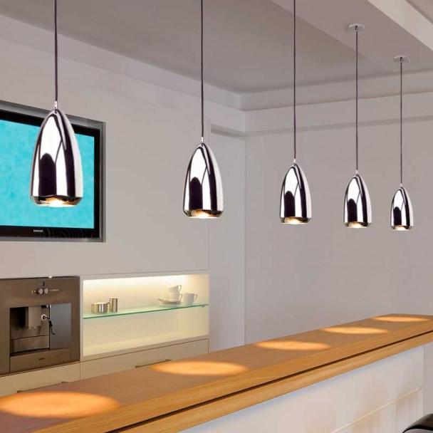 Lampe de Plafond Décoratif Halogène GU10 75W Chrome Klauss