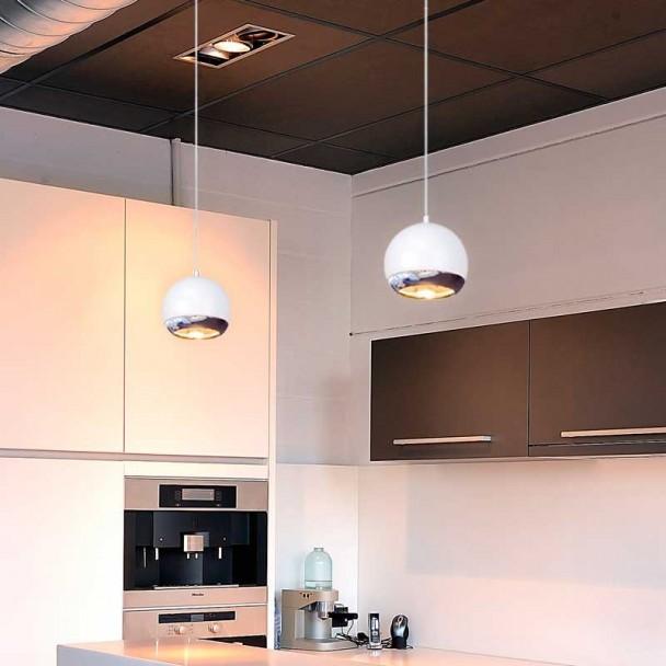 Lampe Occhi Plafond Halogène GU10 75W-Chrome et Blanc