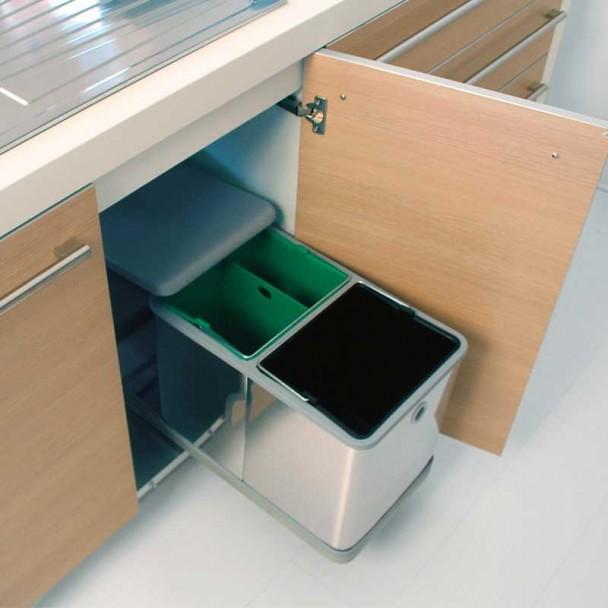 Cube Corbeille en Métal 2 x 10.5 litres pour Meuble de 300 mm