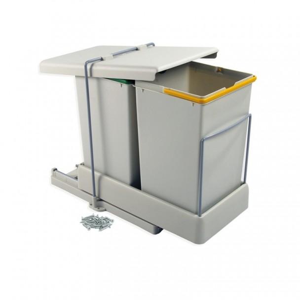 Seau Poubelle 14 + 14 L Extraction et Couvercle Automatique