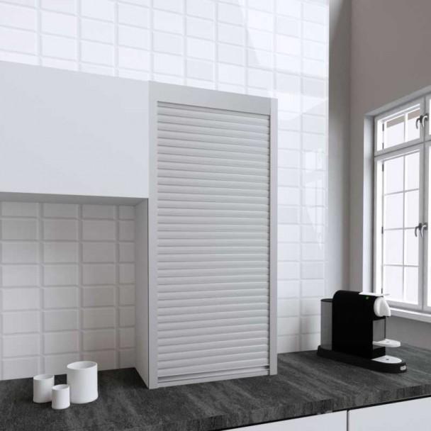 Kit Volet Roulant 60 x 130 cm PVC Inox pour Meubles de Cuisine