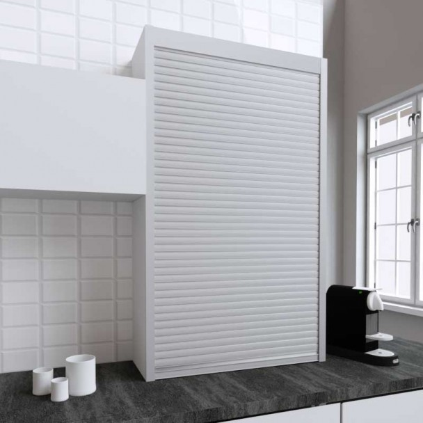 Kit Volet Roulant 90 x 150 cm PVC Inox pour Meubles de Cuisine
