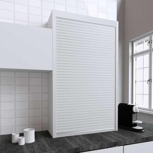 Kit Volet Roulant 90 x 150 cm PVC Blanc pour Meubles de Cuisine