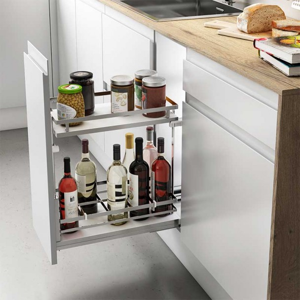 Wine Rack Amovible Chrome Guides Basale Plat